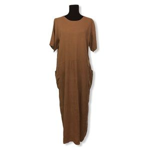 FLAX Womens Lagenlook Linen Maxi Dress Taupe Large